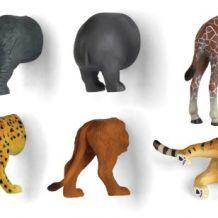 Lot de 6 aimants : popotins d'animaux de la jungle