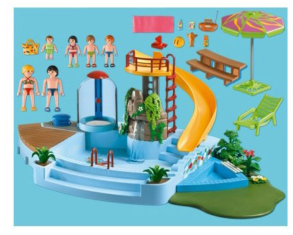 Jeu de construction playmobil piscine avec toboggan for Piscine de playmobil