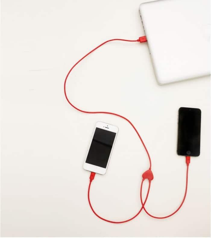 Câble double pour iphone (coeur)